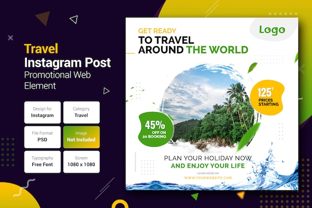 Travel instagram post banner template Premium Psd