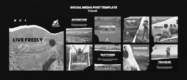 Travel instagram post collection Free Psd