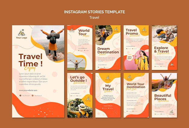 Travel instagram stories Free Psd