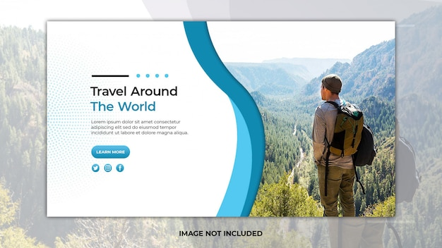 Travel  landing page template with photo Premium Psd