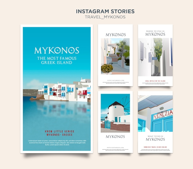 Travel mykonos instagram stories template Free Psd