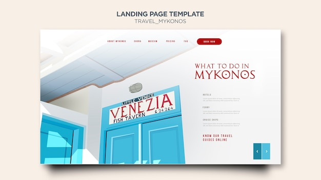 Travel mykonos landing page template Free Psd