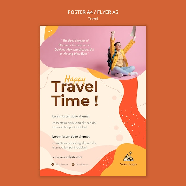 Travel poster template design Free Psd