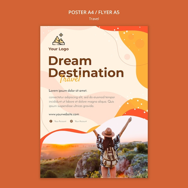 Travel poster template theme Free Psd