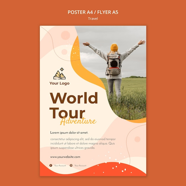 Travel poster template Free Psd