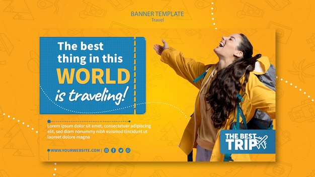 Travel promotion banner template Free Psd