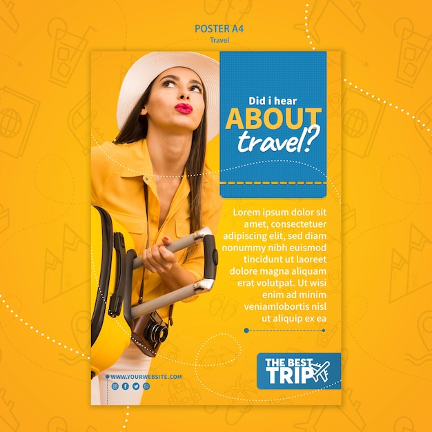 Travel promotion poster template Free Psd