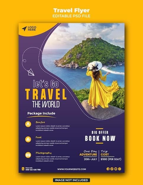 Travel sale flyer template Premium Psd