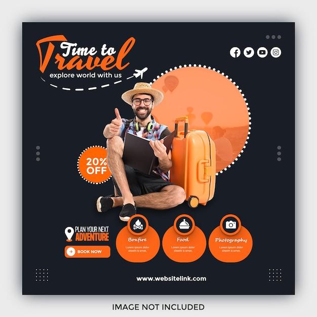 Travel sale social media post template Premium Psd