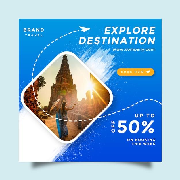 旅行ソーシャルメディアフィードポストプロモーションデザイン Premium Psd