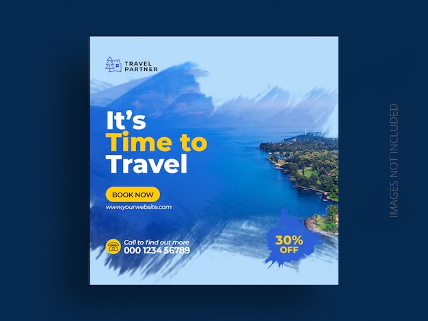 Travel social media post banner template for tour holiday vacation instagram post square flyer Premium Psd