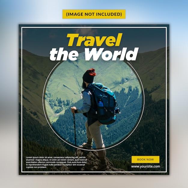 Travel social media post template premium psd Premium Psd
