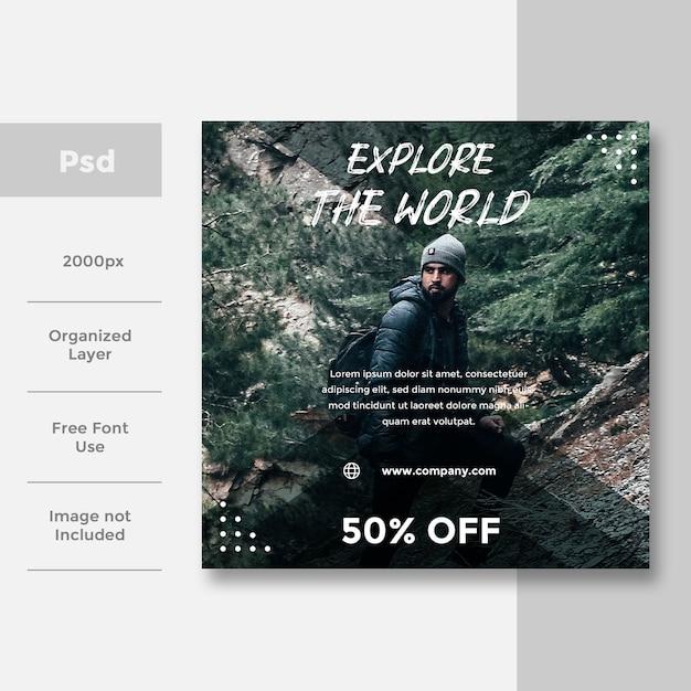 Travel social социальный медиа баннер дизайн рекламы Premium Psd