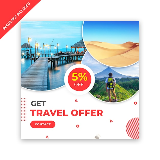 Travel square banner template Premium Psd
