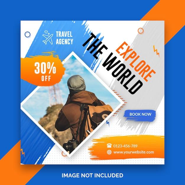 Travel square banner template Premium Psd