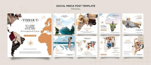 세계 여행 소셜 미디어 게시물 템플릿 프리미엄 PSD 파일