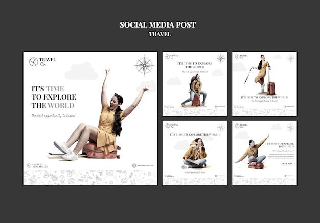 세계 여행 소셜 미디어 게시물 무료 PSD 파일
