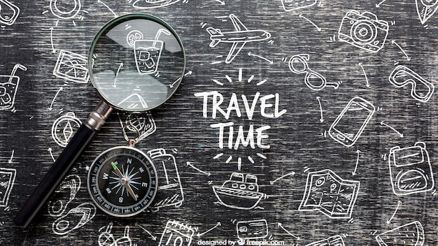 Travel time message on monochrome draw Free Psd