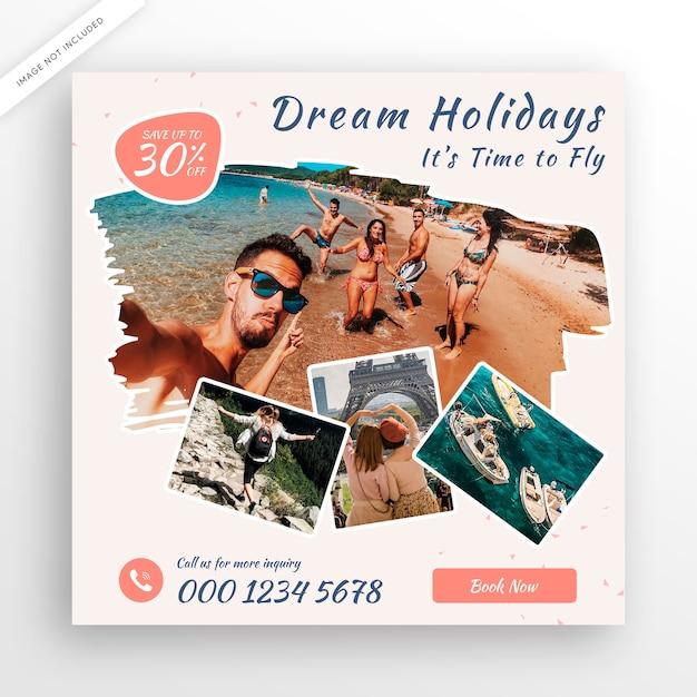 여행 투어 인스 타 그램 게시물 배너 또는 사각형 전단지 템플릿 프리미엄 PSD 파일