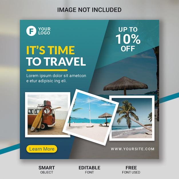 旅行ツアーのソーシャルメディア投稿テンプレート Premium Psd