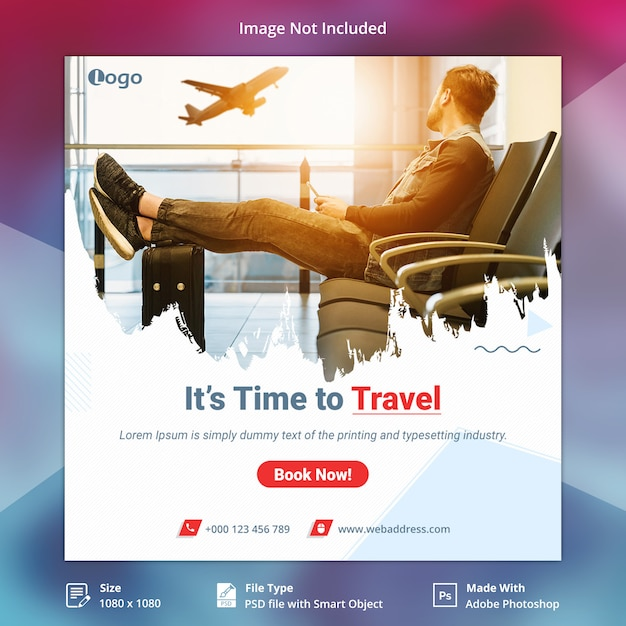 Travel tours instagram post or square banner template Premium Psd