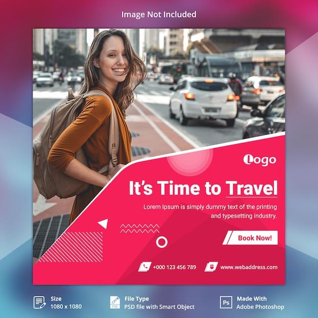 Travel tours instagram пост или шаблон квадратного баннера Premium Psd