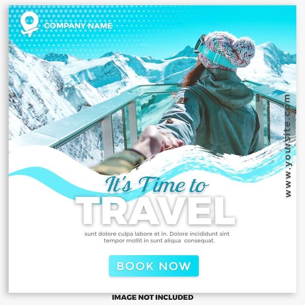 Социальная сеть travel & tours для цифрового маркетинга Premium Psd