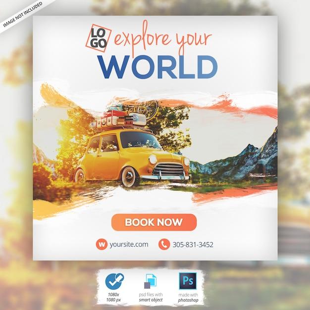 Путешествия отдых туризм веб-баннер Premium Psd