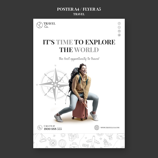 Travel the world flyer template Free Psd