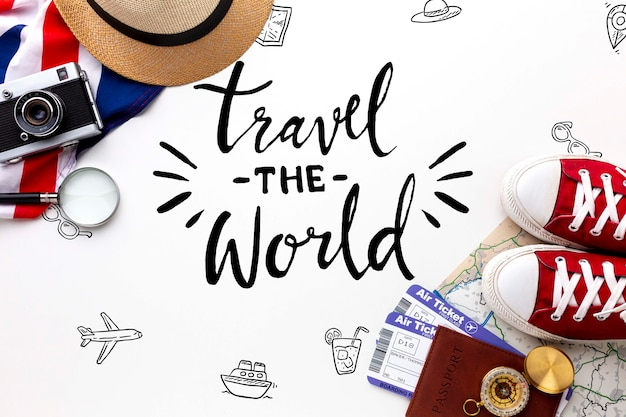 Travel the world message with mock-up Free Psd