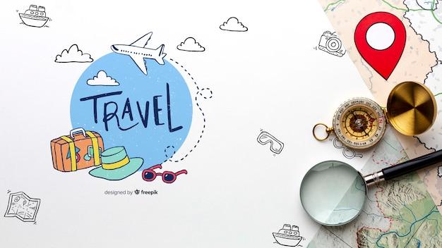 Traveler route to explore the worldwide Premium Psd