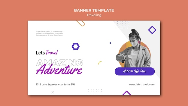 Traveling banner template Free Psd