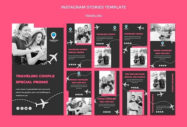 Traveling concept instagram stories template Free Psd