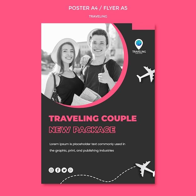 Modello di poster concetto di viaggio Psd Gratuite