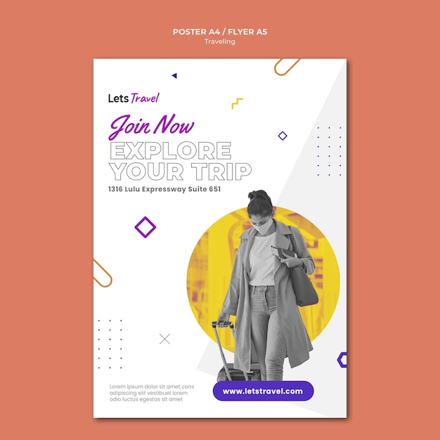Traveling poster template Free Psd