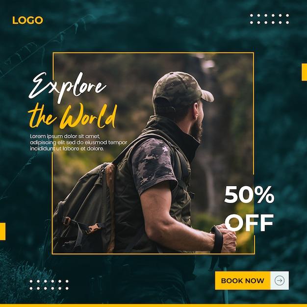 Traveling social media banner template Premium Psd