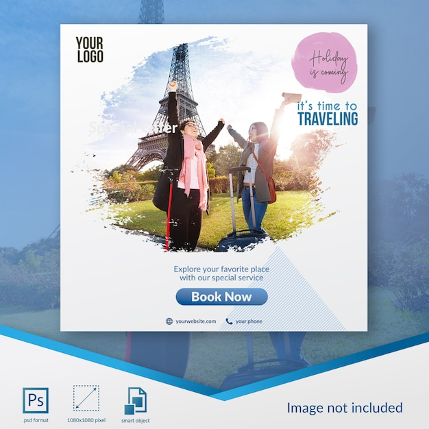 Traveling special sale social media post template Premium Psd