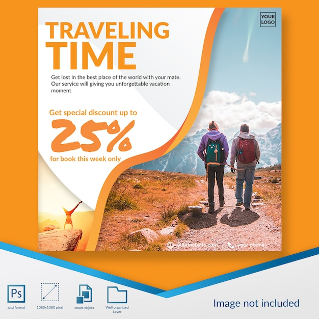 Traveling time discount offer social media post template Premium Psd
