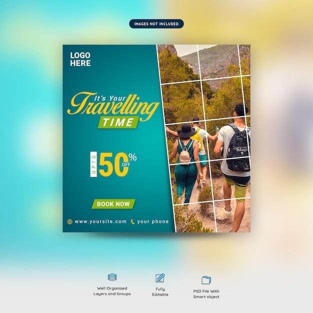 Traveling time social media banner template premium psd Premium Psd