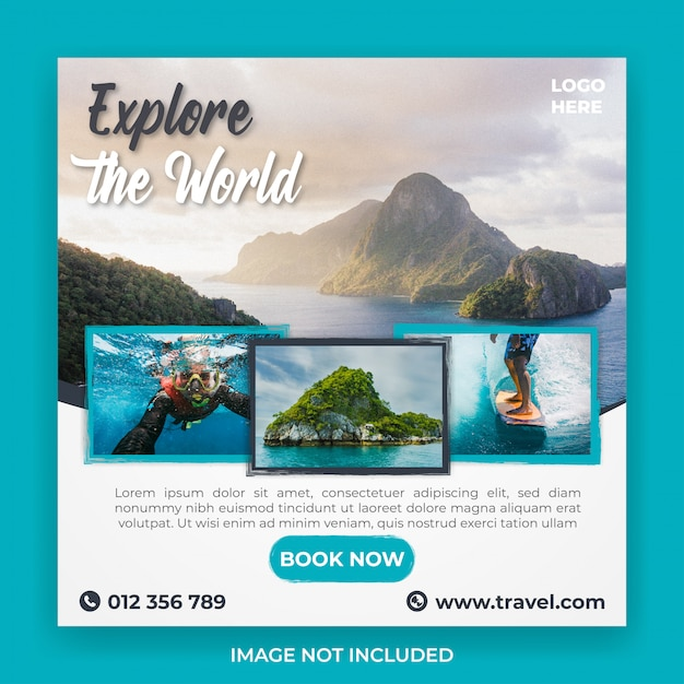 Traveling and tour social media post template Premium Psd
