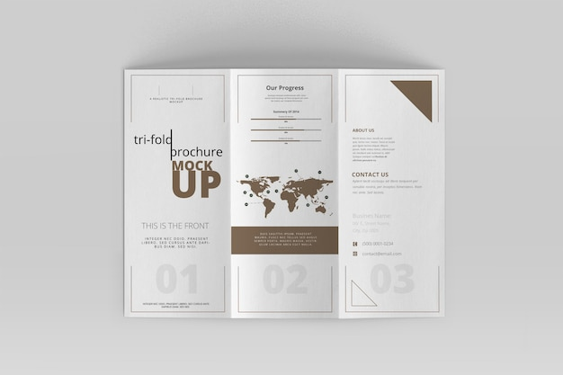 Tri-fold brochure mock-up Premium Psd