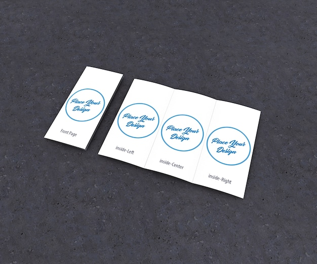 Tri-fold brochure mockup front and inside Premium Psd