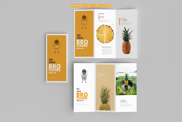 Tri-fold brochure mockups Premium Psd