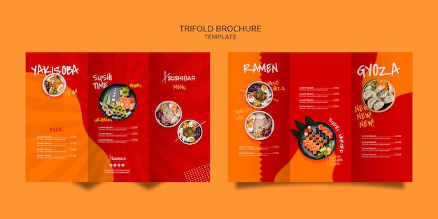 Tri-fold menu template for asian or japan restaurant Free Psd