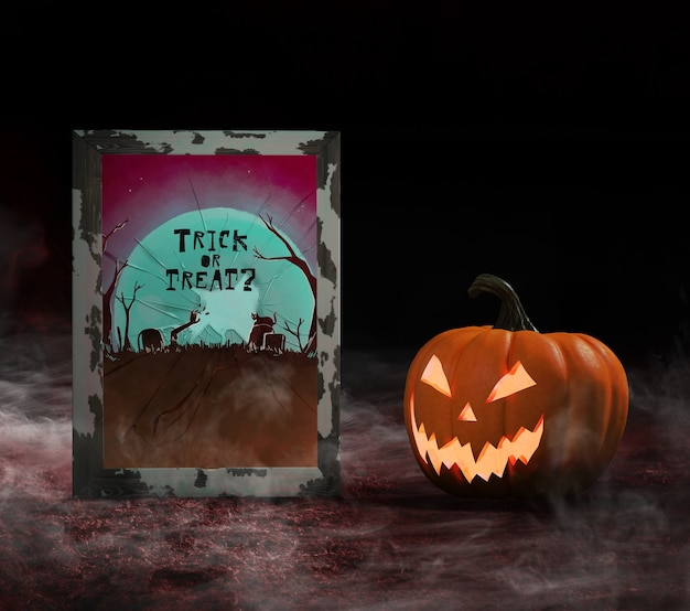 Trick or treat broken glass and carved pumpkin Free Psd