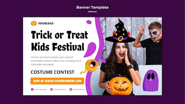 Trick or treat festival banner template Free Psd