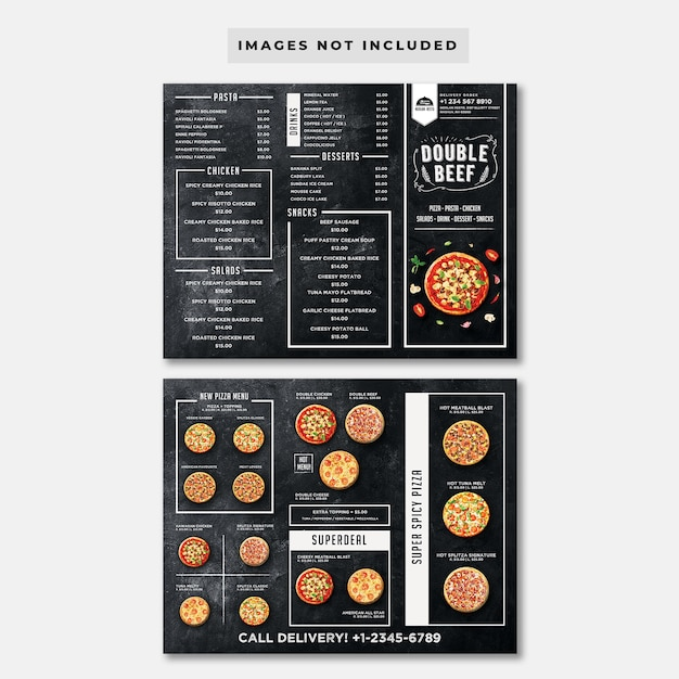 Шаблон меню пиццы trifold blackboard Premium Psd