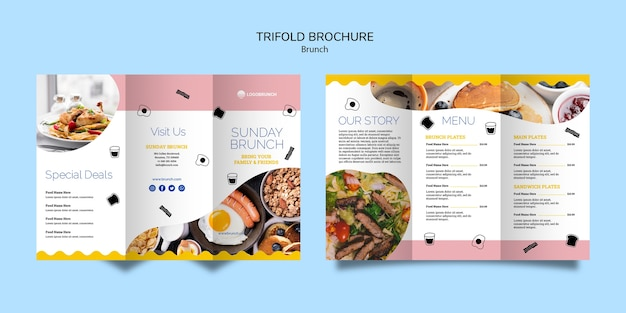 Trifold brochure brunch menu Free Psd
