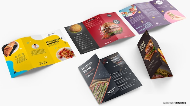Trifold brochure collection mockup Premium Psd