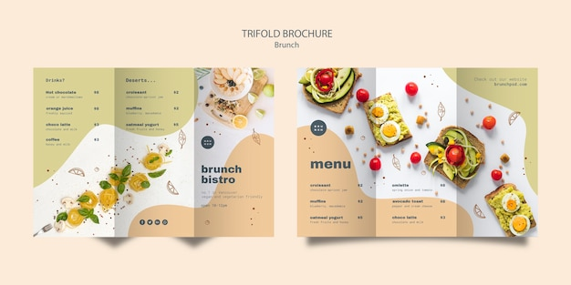 Trifold brochure design for tasty brunch Free Psd